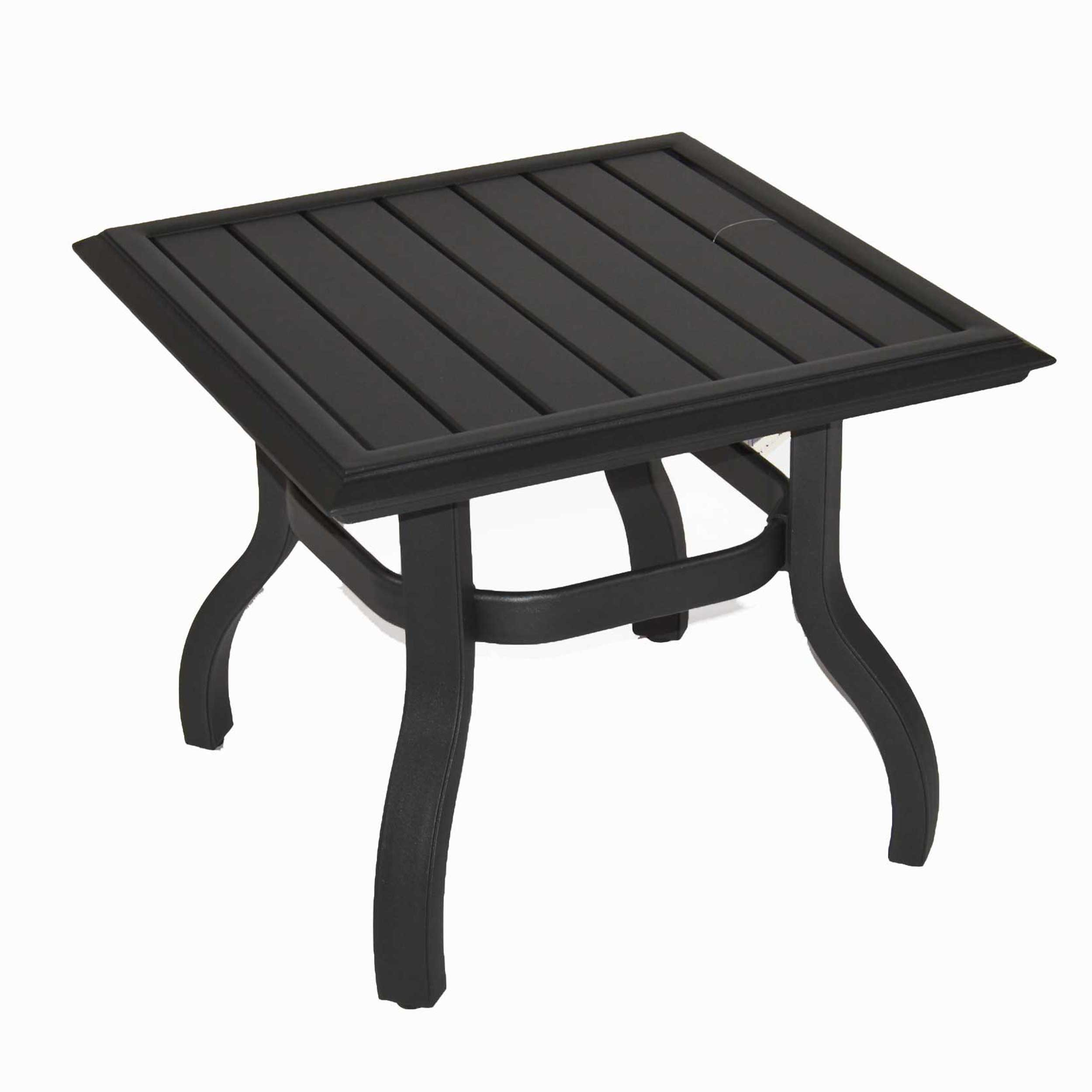 patio renaissance venice square accent table graphite outdoor with drawer pool umbrella stand black metal end dark cherry wood side battery powered lamps antique nautical lights