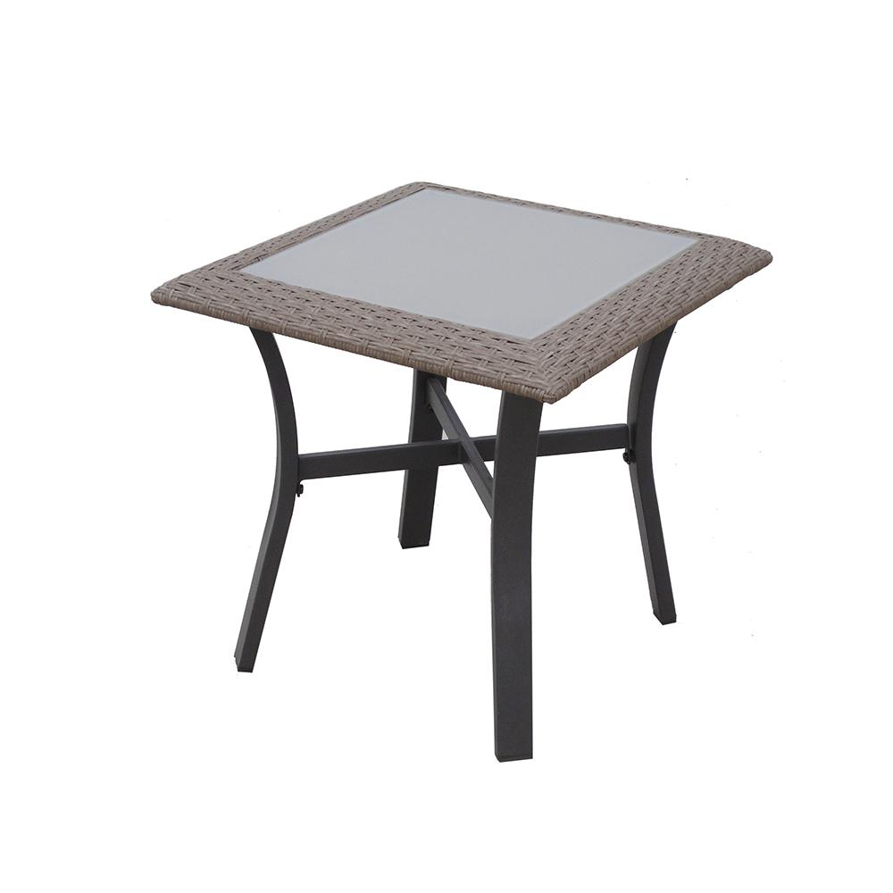 patio side table metal round hampton bay corranade outdoor accent tables small cloth bunnings changing dresser the furniture tall bistro and stools pedestal blue living room