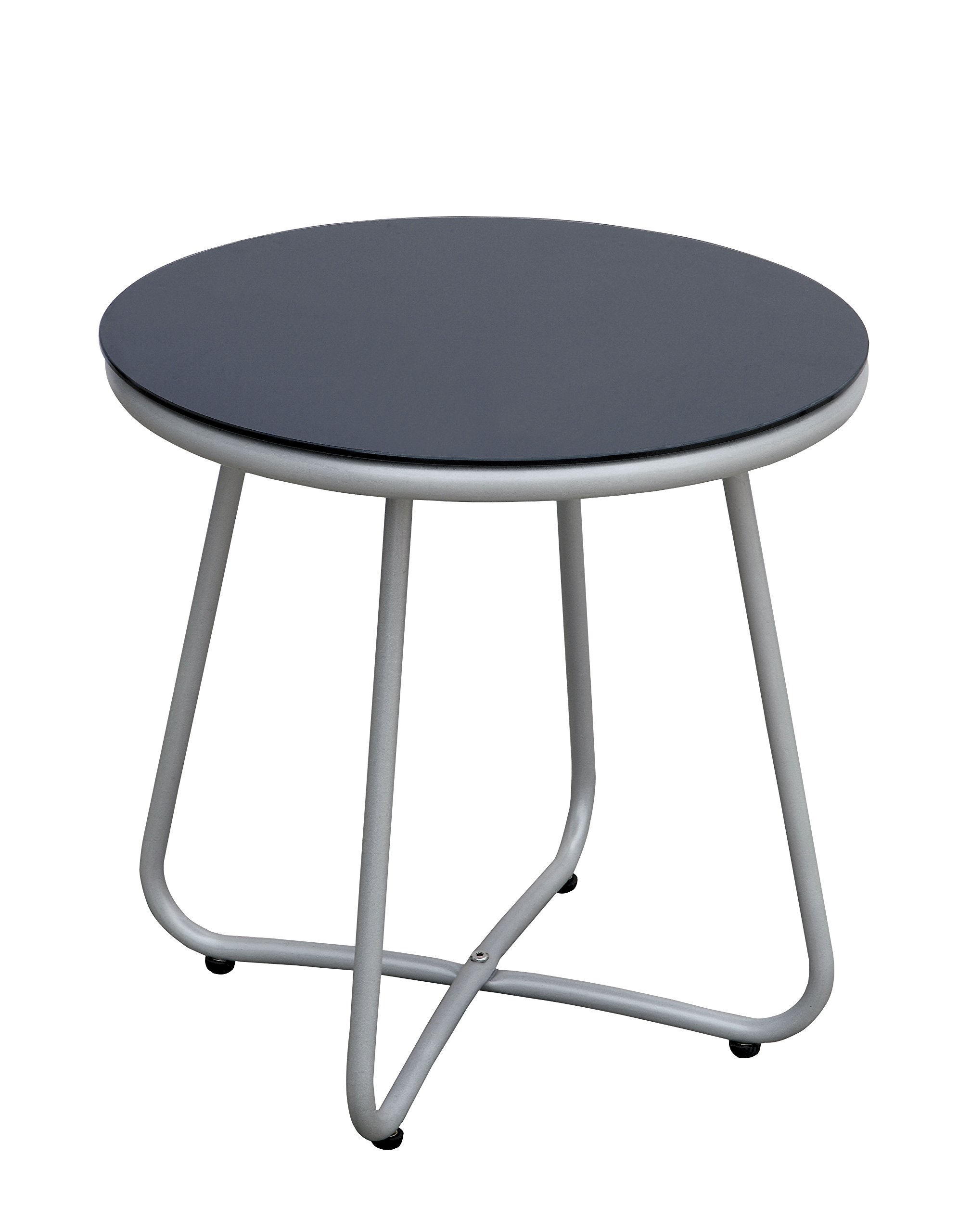 patio tables lavorist glass top outdoor side table athome idf myami grey contemporary style sturdy wide bedside cabinets cube battery powered living room lamps kmart cushions