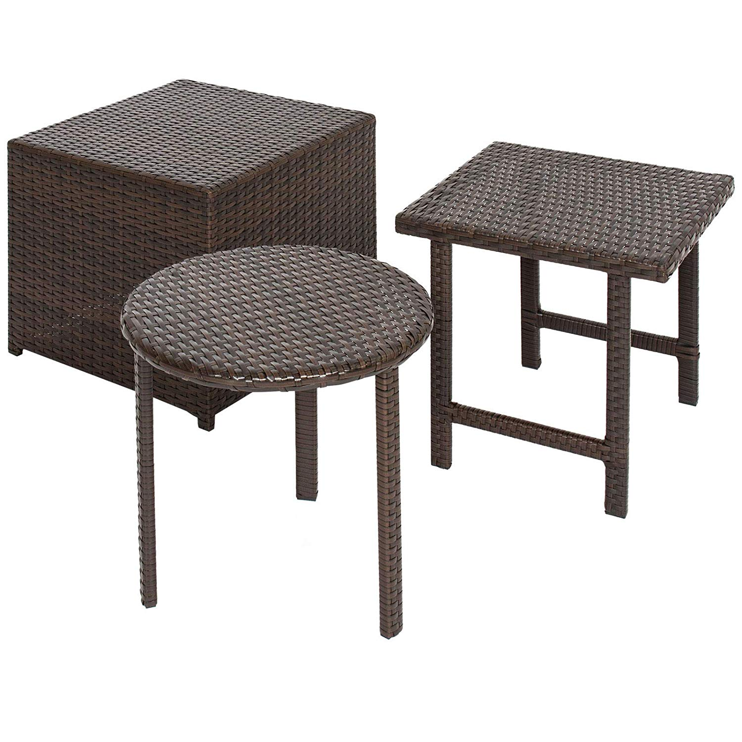 pcs outdoor wicker side table set and ott garden decor patio deck backyard yard porches poolside pool home furniture decoration lightweight metal teal clear plastic mid century