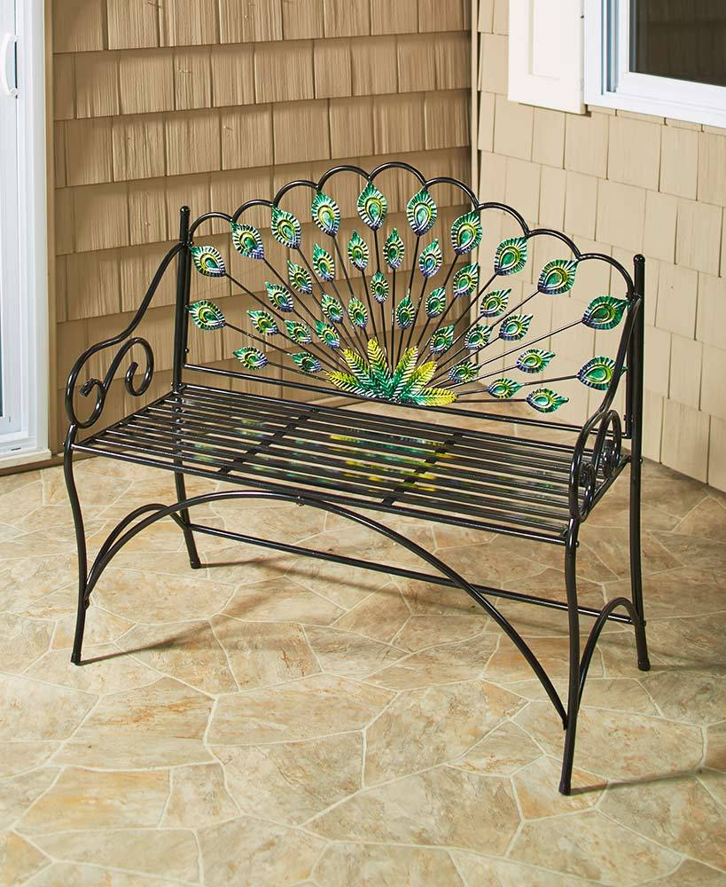 peacock garden decor bench accent table metal glass colorful porch yard lawn furniture drum side butler coffee outdoor ideas high end tables blue tablecloth best trestle barn door