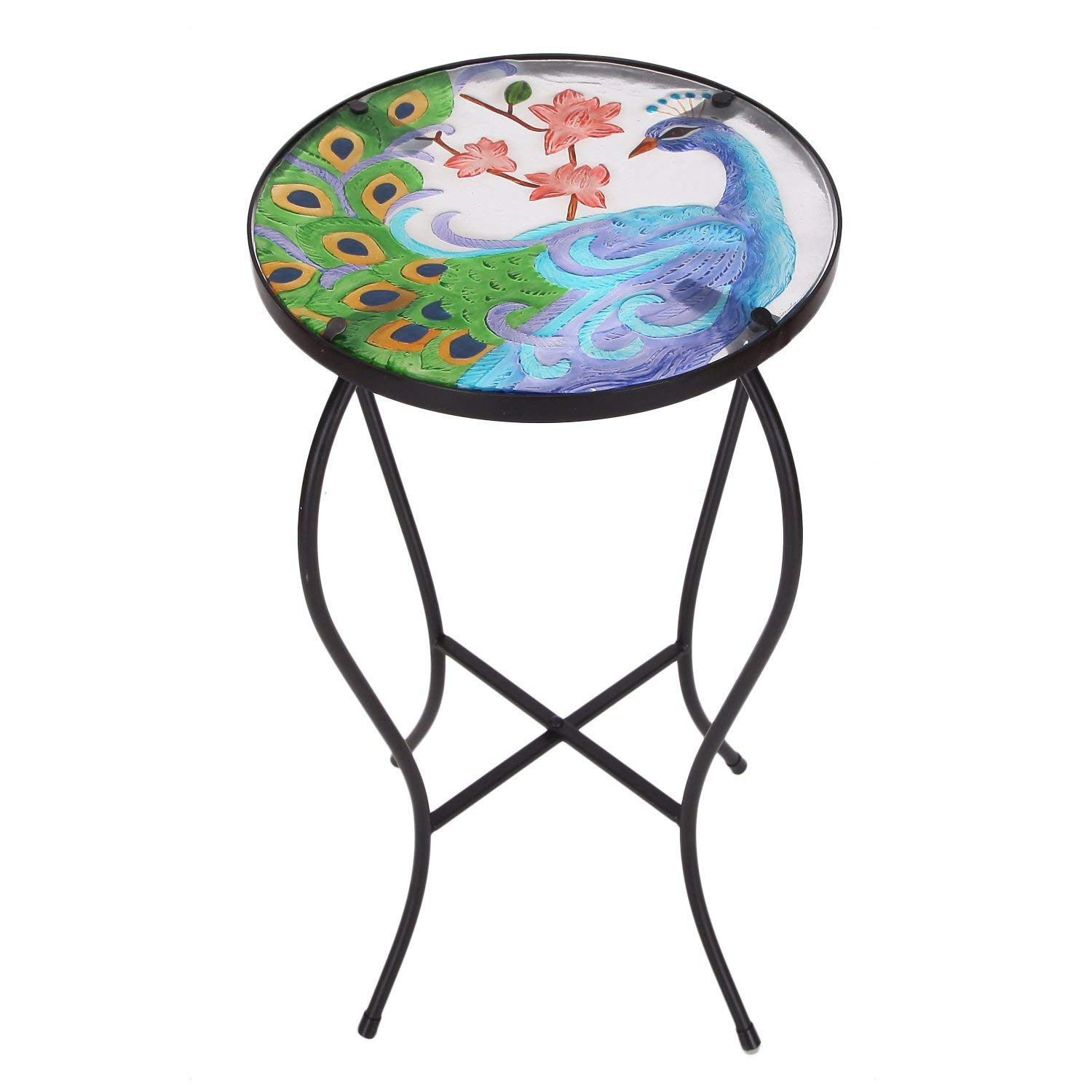 peacock mosaic find line accent table indoor get quotations homebeez flower foldable round plant stand side black color curve iron wall clock wire basket with leaf white porcelain