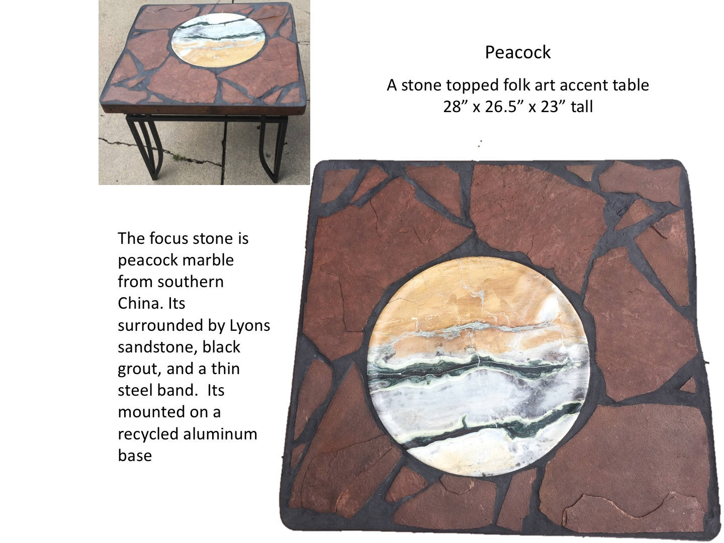 peacock stone topped folk art accent table tall fullxfull thin painted bedside chests high top dining your focus runner pattern hexagon target outdoor garden side affordable sofa
