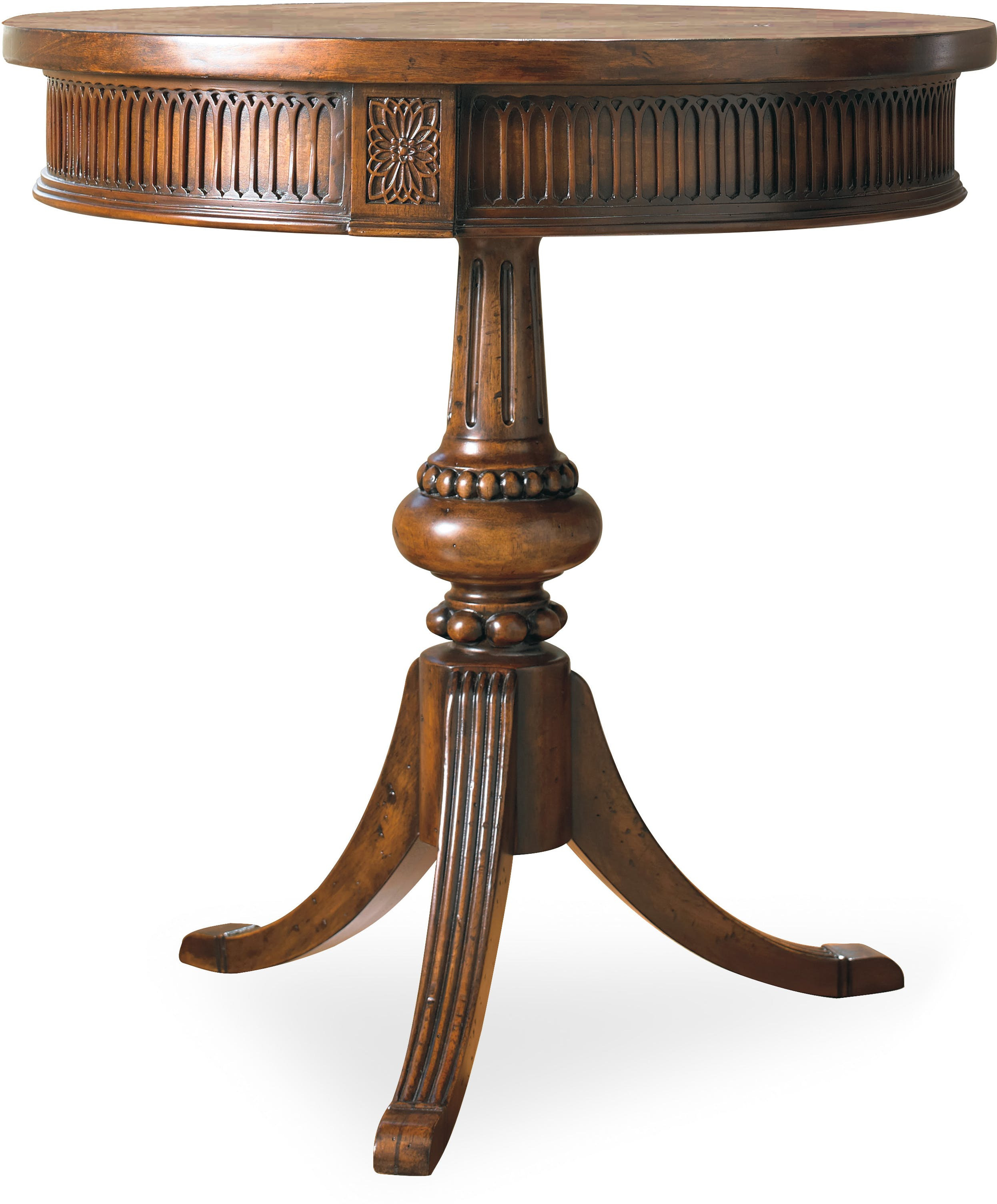 pedestal accent table within hooker furniture living room round design wood target high pub set marble tray hammered copper top end tables modern reproductions pier imports