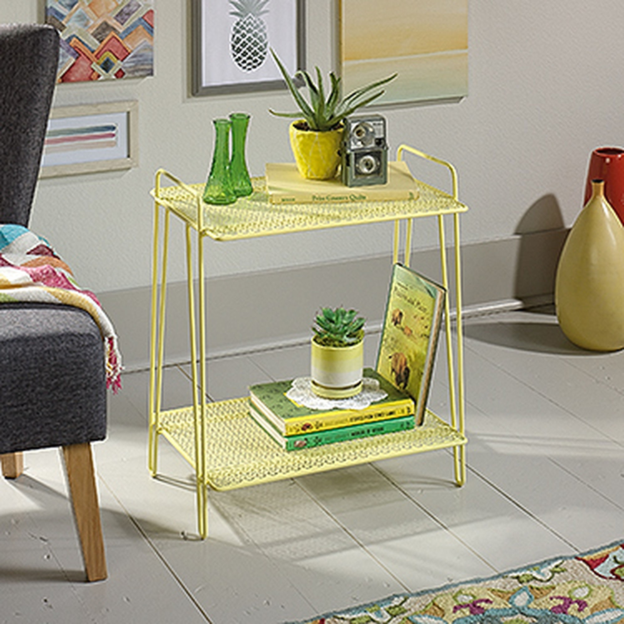 perforated shelves contemporary accent table yellow mathis halloween tablecloth large sofa glass chest drawers coastal home decor octagon side square circular dale tiffany crystal