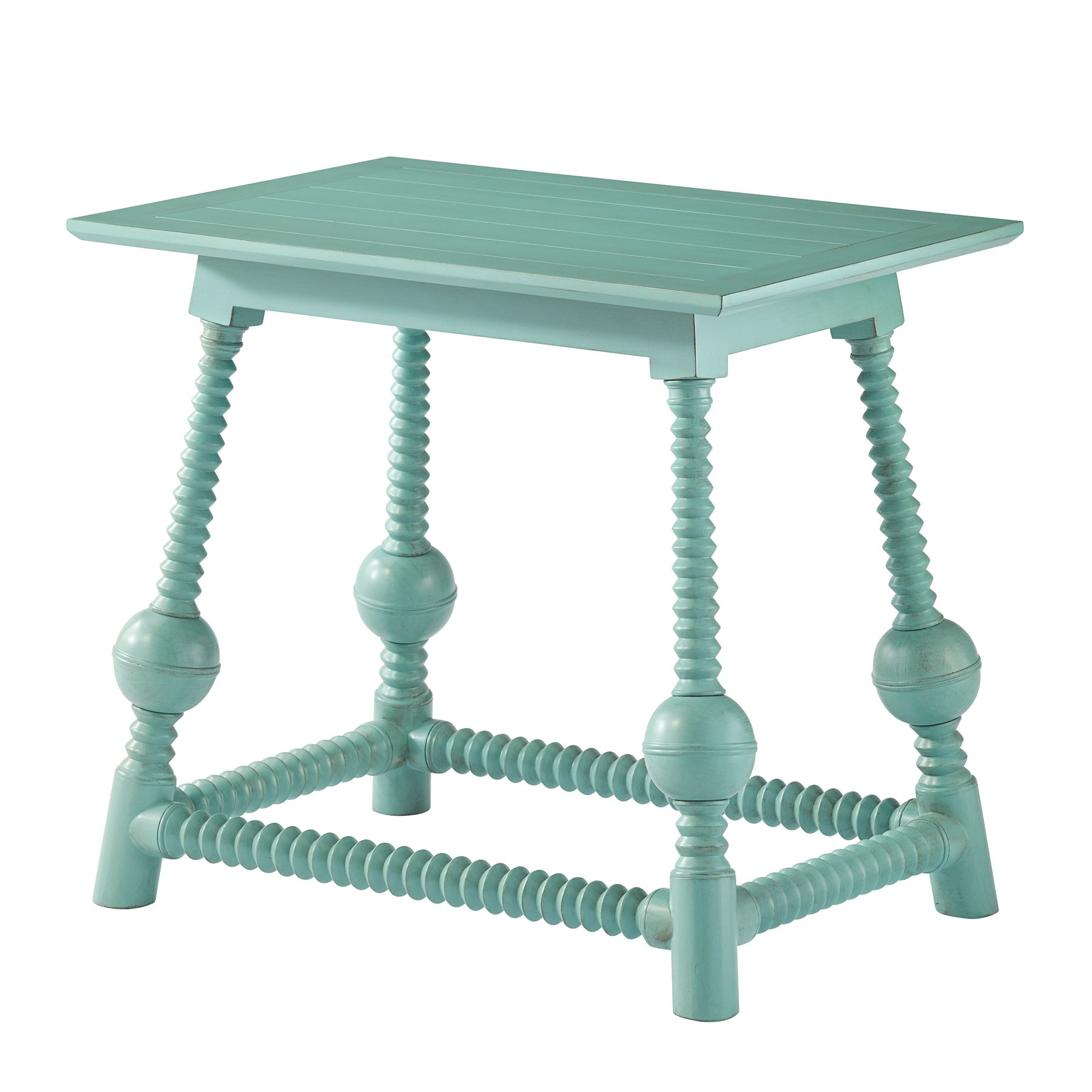 perry accent table bobbin globe theodore alexander teal west elm white desk distressed coffee set oval glass top ashley furniture round laminate paint nesting tables inch high