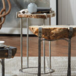 petrified wood accent table that cool natural outdoor seating drum round tablecloth silver leaf coffee metal home decor unusual ideas large ginger jar lamps inch linen nautical 150x150