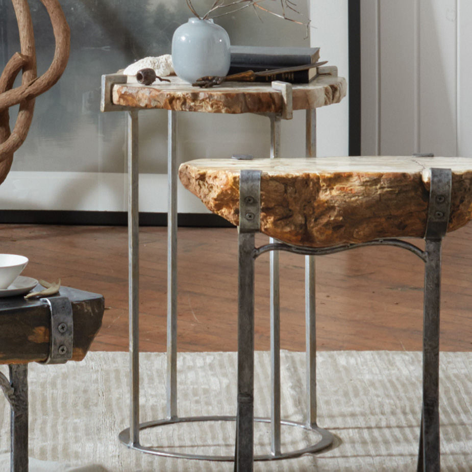 petrified wood accent table that cool natural outdoor seating drum round tablecloth silver leaf coffee metal home decor unusual ideas large ginger jar lamps inch linen nautical