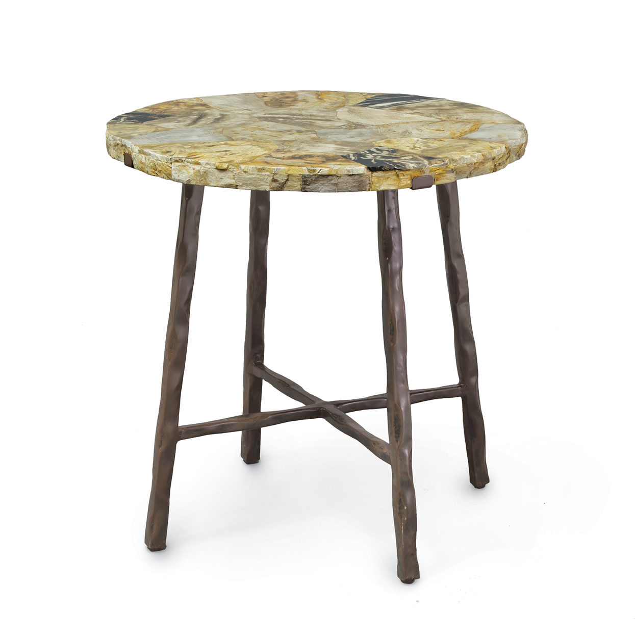 petrified wood dining table janice minor tables solid accent vintage inspired couch side ideas for living room bronze and glass yellow white contemporary coffee black metal lamp