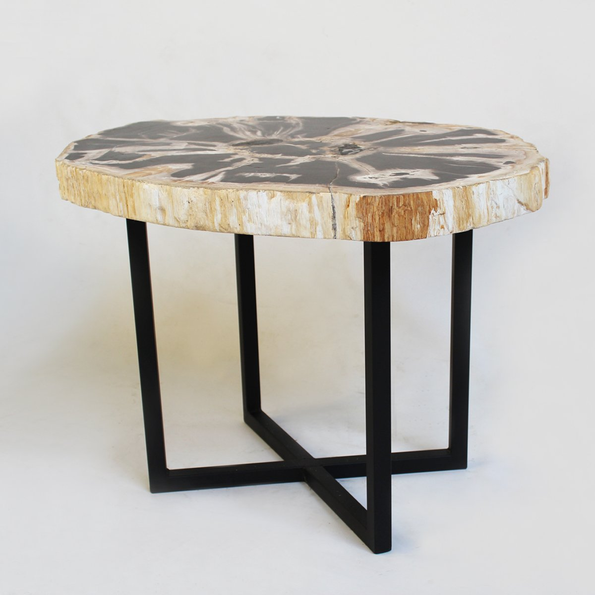 petrified wood side table home kitchen accent small round glass dining extra large tablecloths pub tops chairs with arms coffee tray pottery barn narrow console inches deep walnut