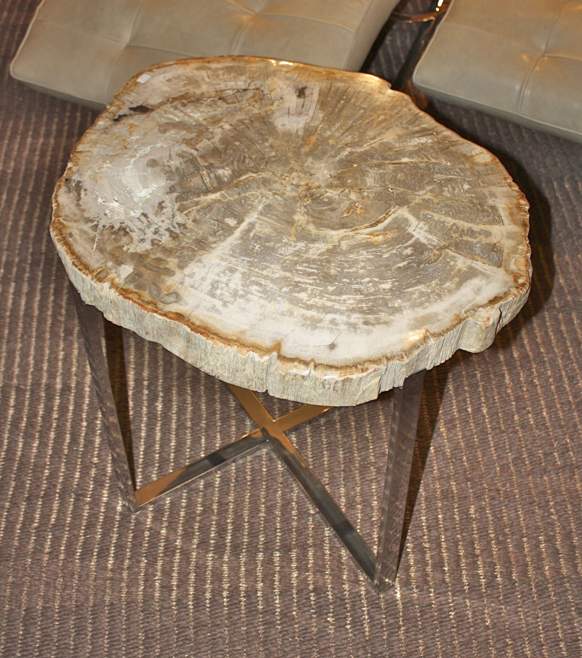petrified wood slice side table unique accent tables bali chic style for lamp canopy umbrella looking coffee tray target brushed brass pier one mirrored end tablecloth inch round