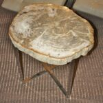petrified wood slice side table unique accent tables bali chic style narrow console cabinet matching bedside and chest drawers cherry end with drawer basket coffee white home 150x150
