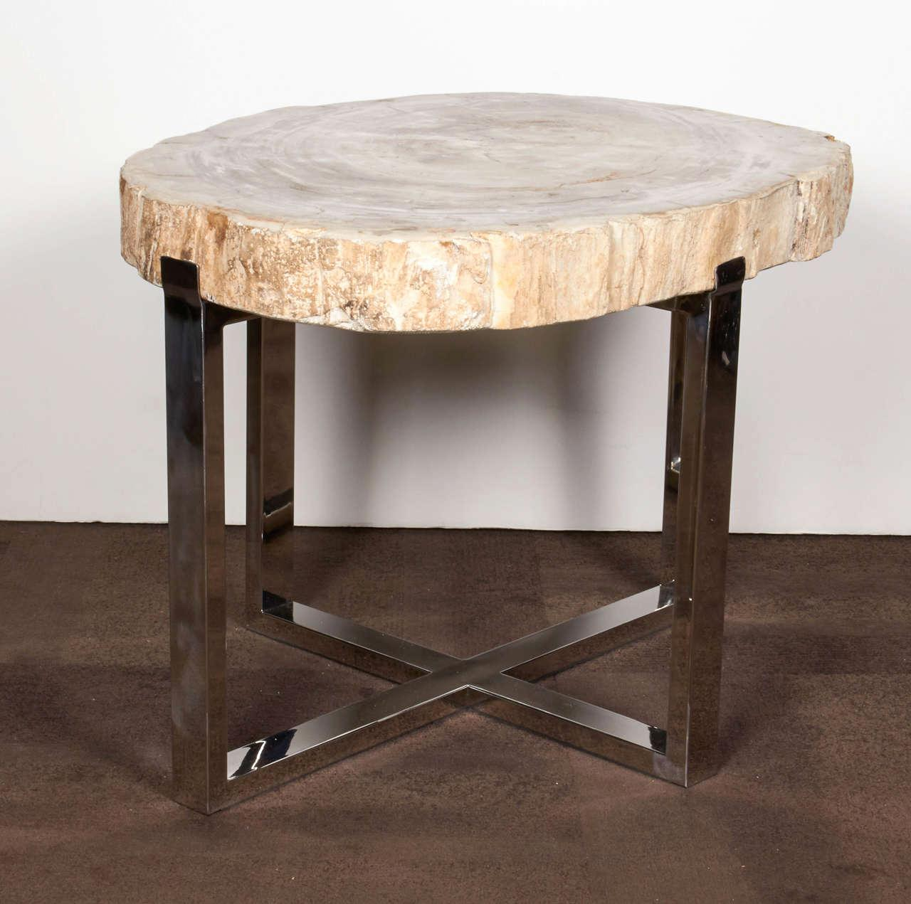 petrified wood table dining with beautiful appearance accent white contemporary coffee long skinny console counter height sets west elm box frame side ideas for living room small