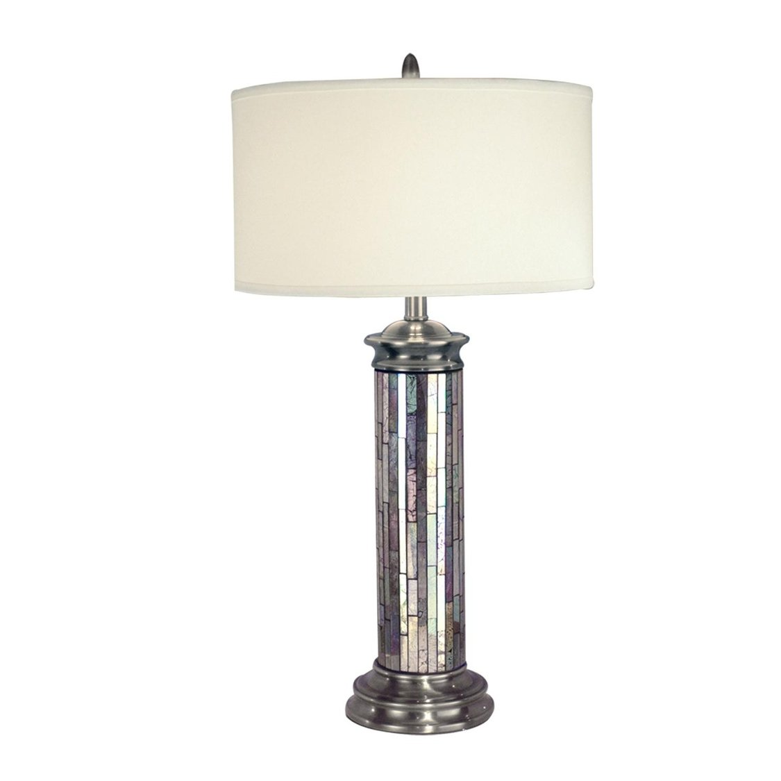 pewter gray and silver art hand crafted glass accent table lamp with crisp white drum shade free shipping today modern gold coffee ikea room ideas corner bench dining set box unit