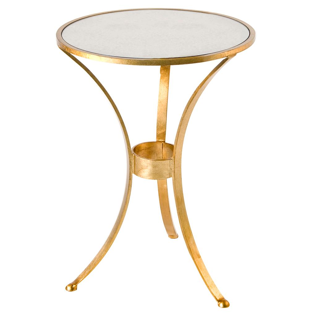 pfeiffer hollywood regency gold antique mirror side table kathy product mirrored accent kuo home pedestal lamp patio swing pier outdoor cushions wine rack dining linens large