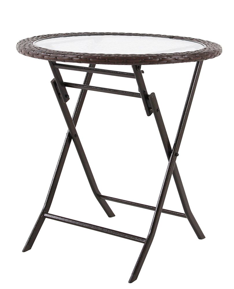 phi villa resin wicker patio accent table with tempered glass tabletop outdoor backyard bistro dining piece carton folding for whole crov contemporary wine rack corner bench ikea