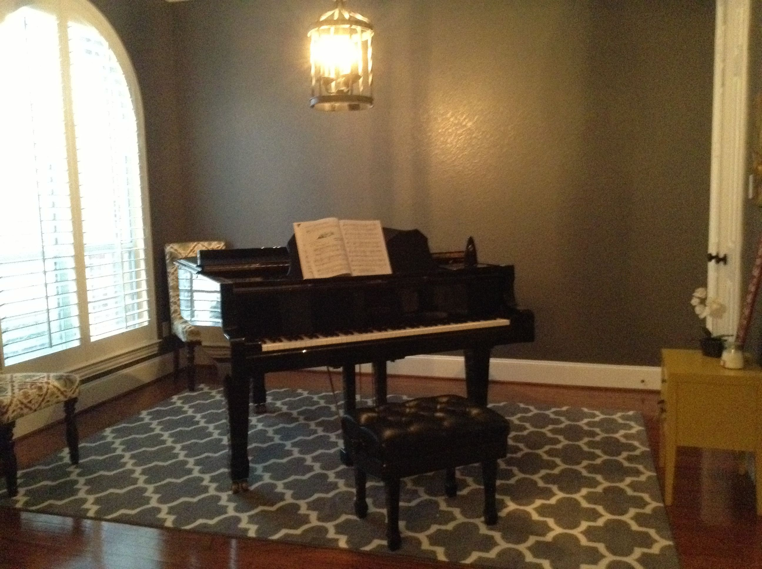 piano room dark granite paint grey target rug chairs from yellow accent table kirkland have teal red and wheat perfect for storing girls books light fixture lows clearance dining