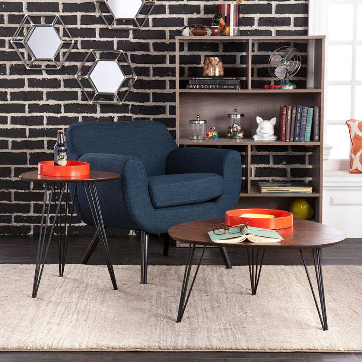 piece accent table set bizchair holly and martin ham living room sets our bannock mid century modern industrial with black hairpin metal legs tiffany tree lamp brass bistro wicker