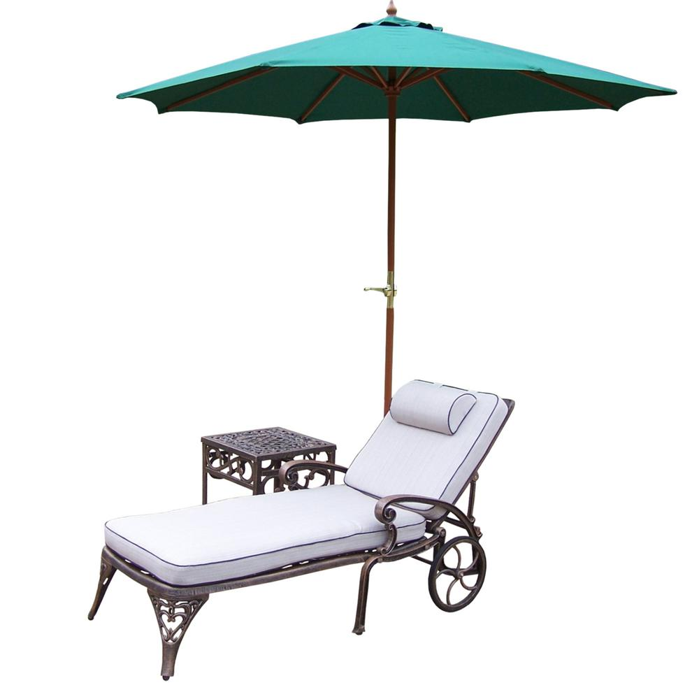 piece cast aluminum outdoor lounge set with chaise lounges umbrella side table iron frame queen brooklyn furniture vintage oak antique folding top simple console patio umbrellas