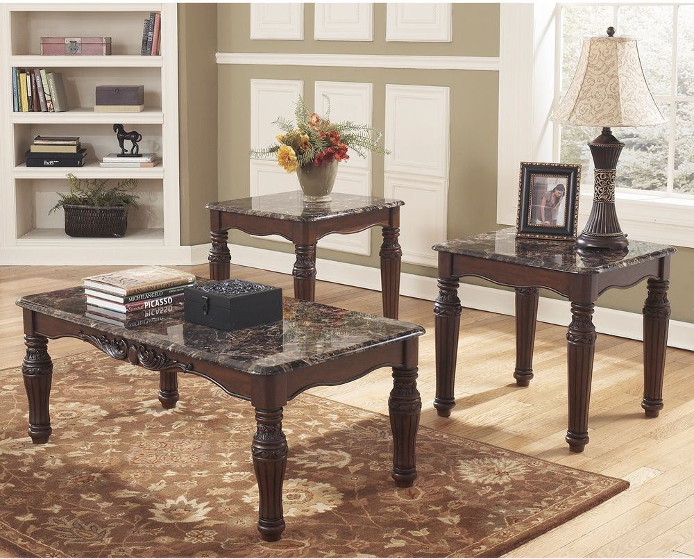 piece coffee table end set dark brown finish livingroom jcpenney accent tables signaturedesignbyashley ashley sleeper sofa mirror dale tiffany butterfly lamp unique wine racks