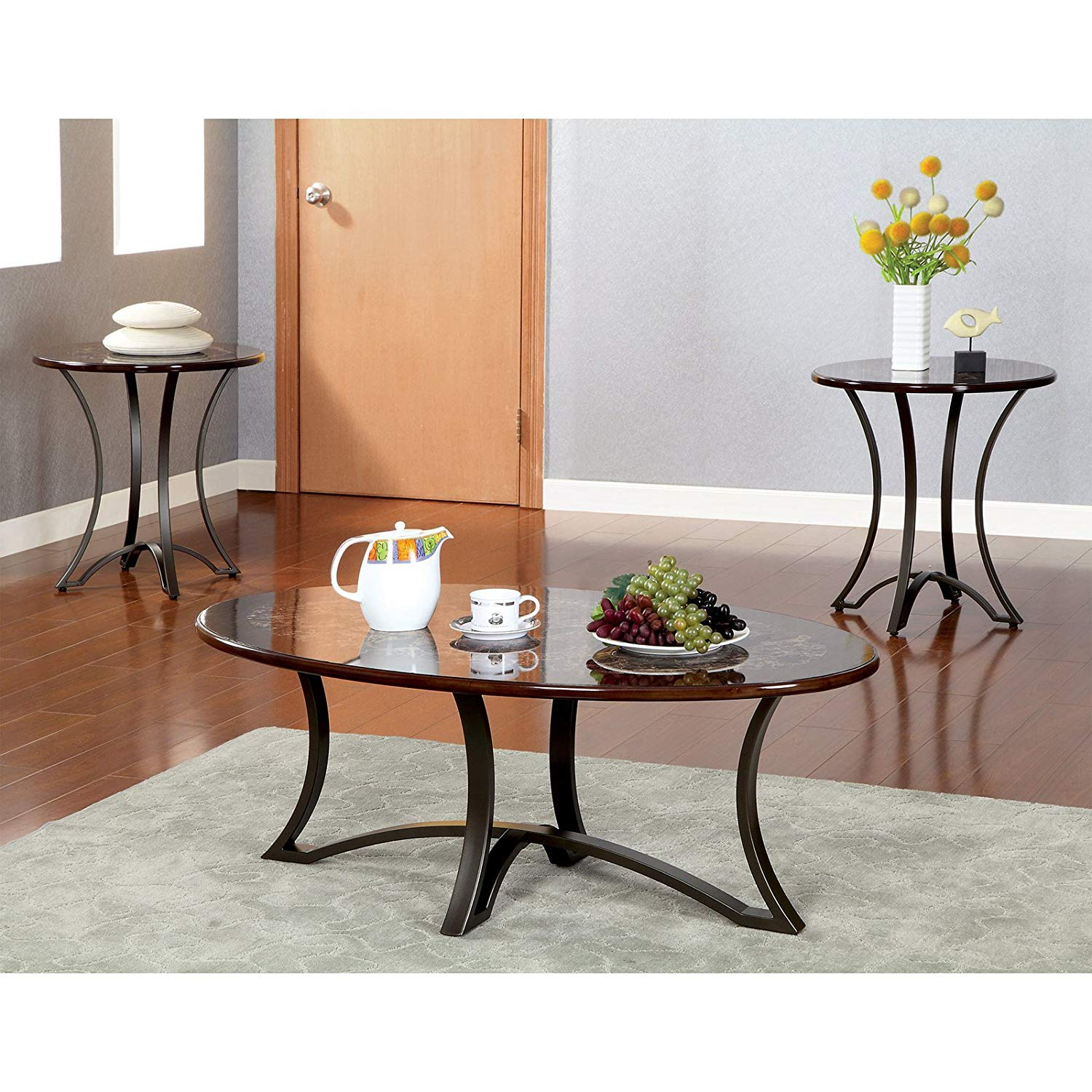 piece marble coffee table set find accent get quotations one and two end tables faux whole tablecloths futon covers bath beyond baroque bedside oriental vase lamp foot patio