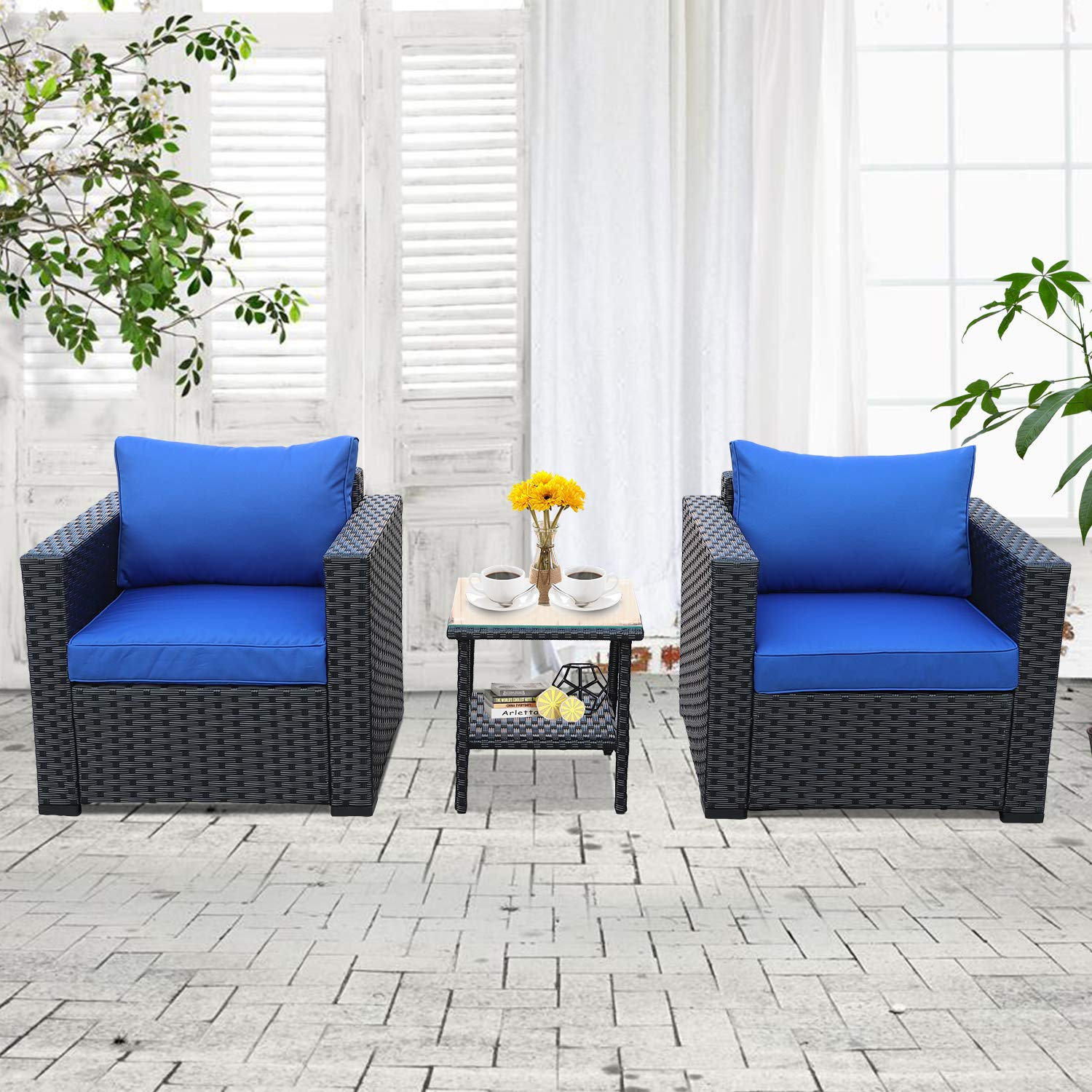 piece patio rattan wicker conversation chair set blue outdoor accent table single armchair sofa and side furniture black royal garden burgundy runner storage chest with matching