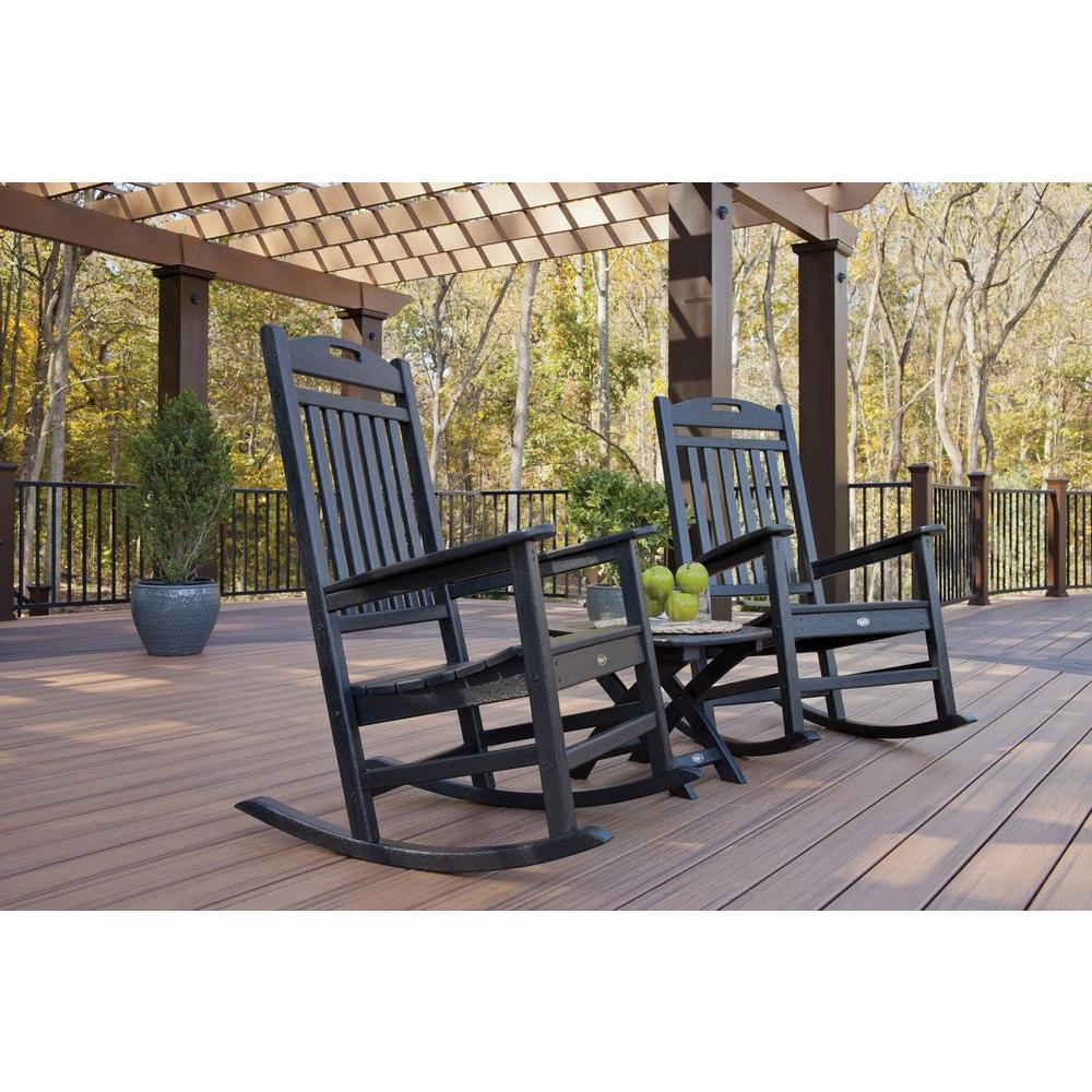 piece presidential woven outdoor rocking chair side black set trex furniture yacht club charcoal patio conversation sets bistro with table wooden wicker white cushion accent full
