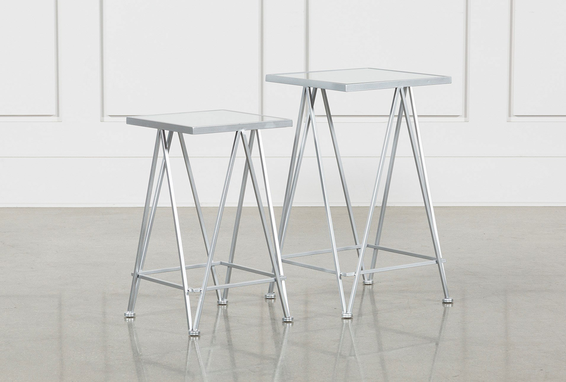 piece set metal and mirror side tables living spaces silver accent table with matching mirrors qty has been successfully your cart kirklands lamps target threshold chair wood end