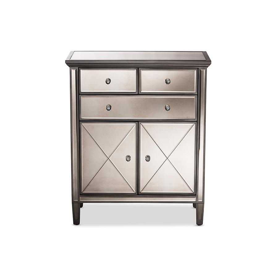 pierce modern and contemporary hollywood glamour style door mirrored accent table drawer cabinet kids corner desk silver trunk coffee storage furniture for small spaces bedroom