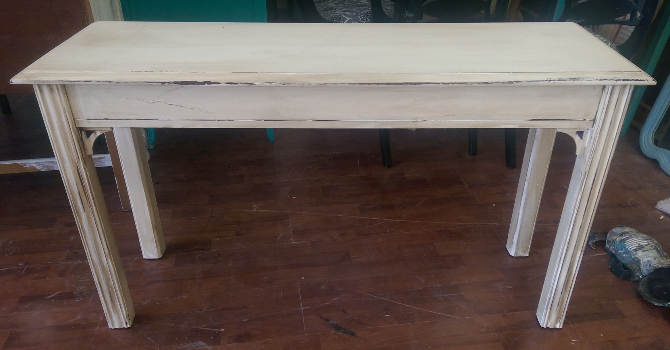pin shabby chic tables long accent table this are great for entry sofa painted garden bench grey and white rug warwick furniture nautical kitchen lighting glass end living room
