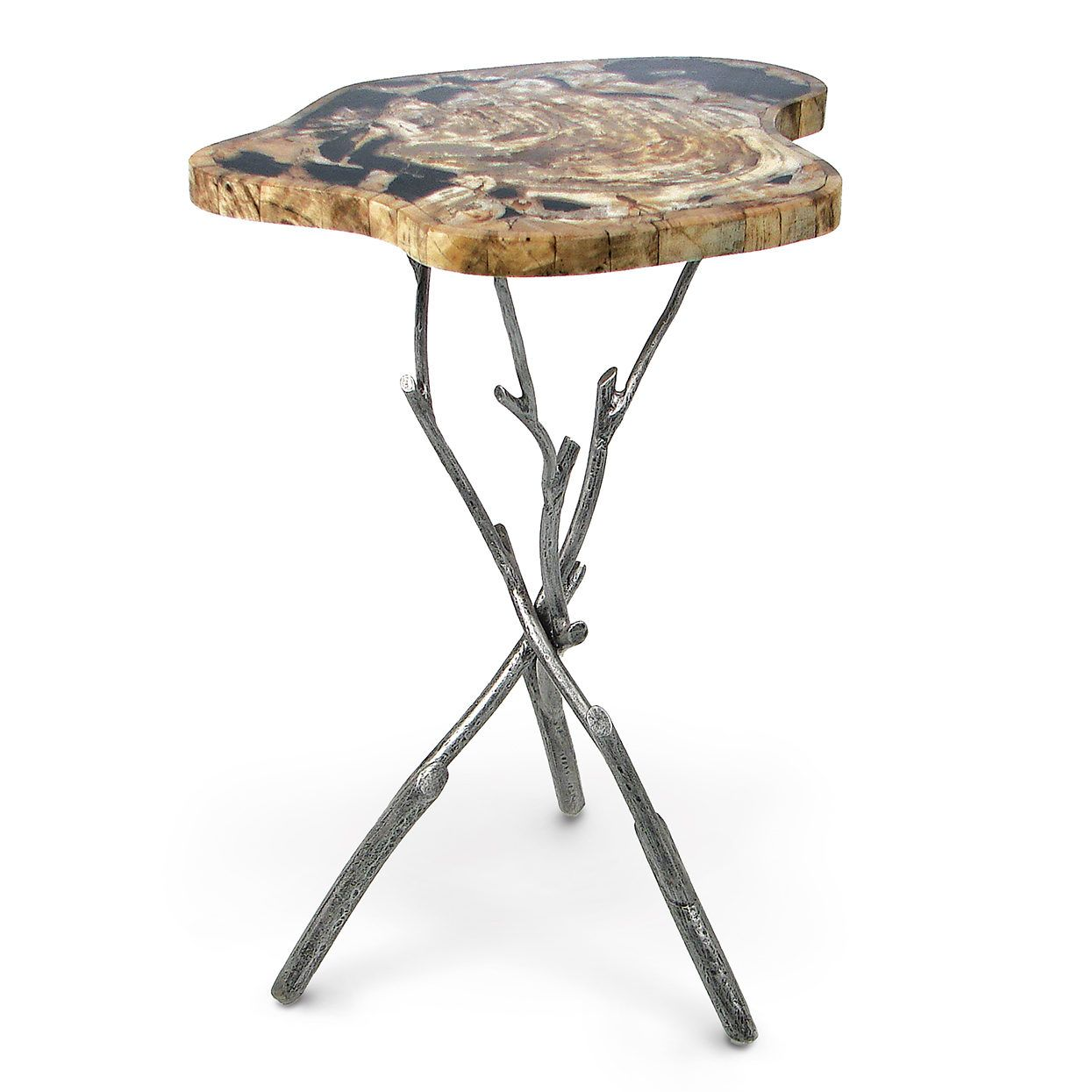 pin style home furnishings petrified wood furniture accent table health center square nesting tables pier one round plastic wrought iron legs wine holder counter height sets pub