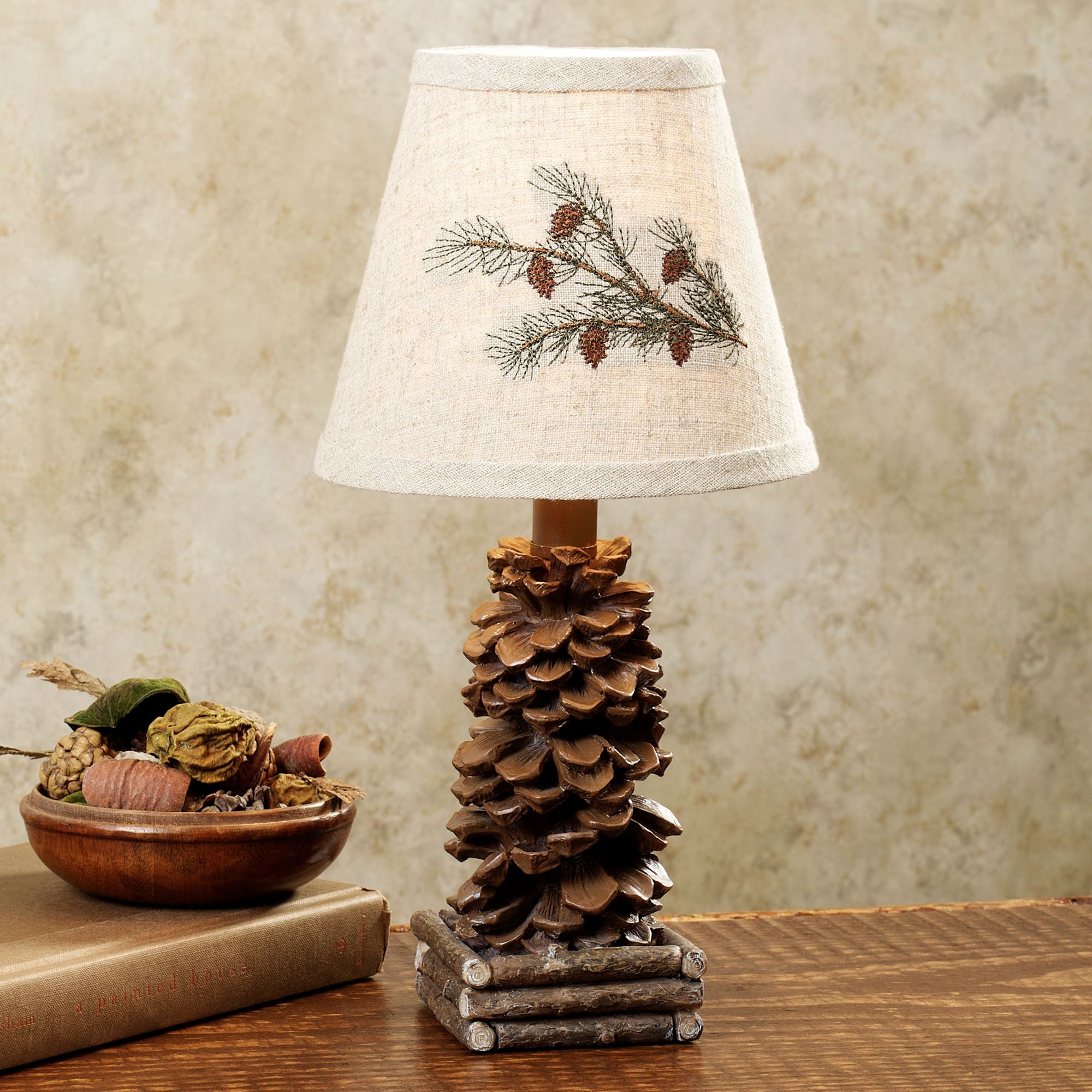 pine cone rustic mini lamp accent table lamps touch zoom outdoor prep station for bbq lucite and glass coffee silver end tables contemporary occasional reclining living room sets