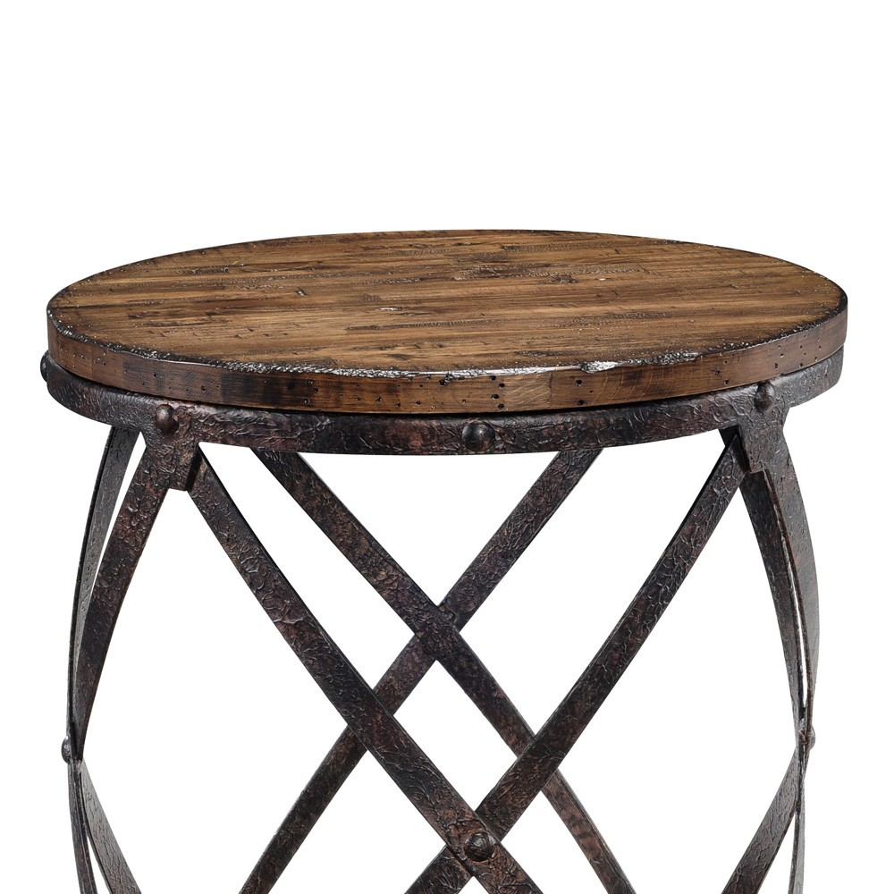 pinebrook wood iron round end table distressed natural pine roundendtable distressednaturalpine magnussen tables slab narrow with storage cherry snack industrial side sectional