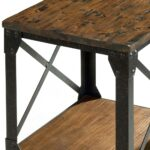 pinebrook wood iron small end table distressed natural pine smallendtable distressednaturalpine magnussen round accent unique wine racks with wheels ikea vintage marble bistro two 150x150