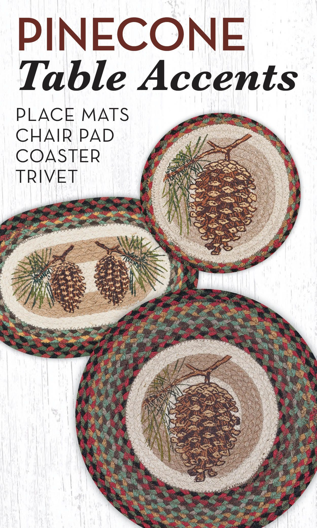 pinecone round placemat table settings pine accent with theme place mats trivets coaster and chairpad great for cabin rustic themed decor tablesettings bathroom styles lime green