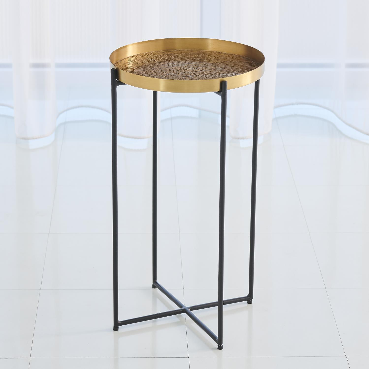plaid etched accent table antique brass ashley furniture tables mid century dining set white and gold lamp small cloth mosaic garden numeral wall clock folding decorative storage