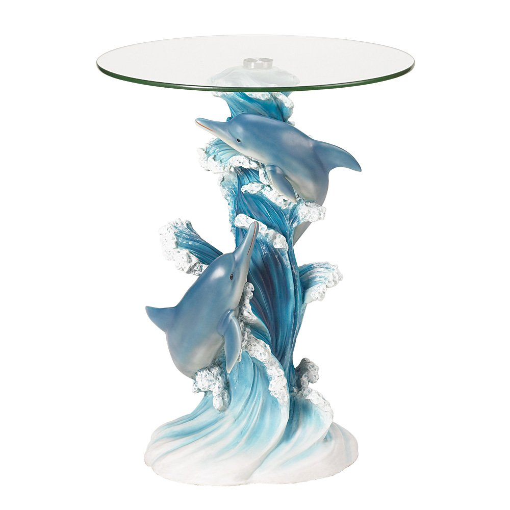 playful dolphins accent table home kitchen teal blue mirrored tray small antique marble top american drew furniture modern nesting side tables counter height dining chairs inch