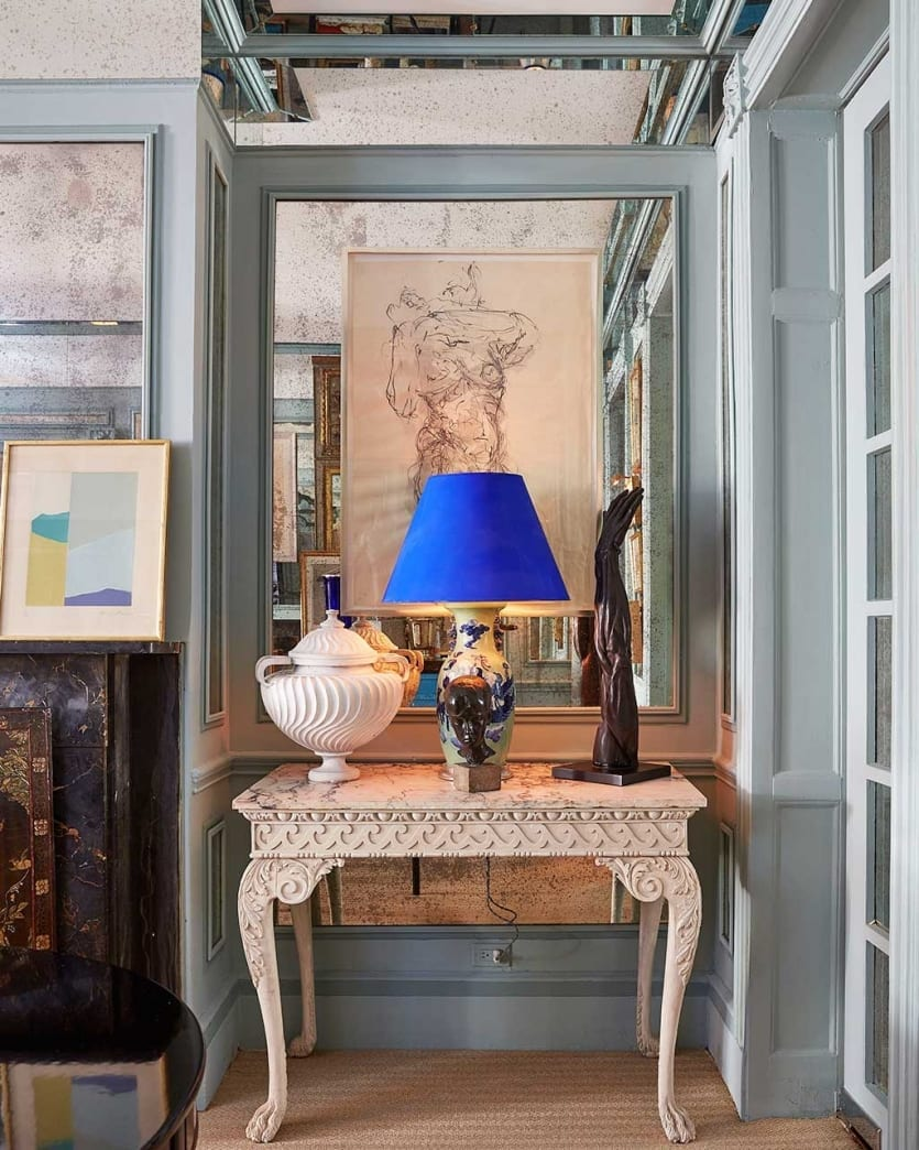 podcast miles redd our newest designer how decorate house kidney accent table the dining room townhouse with mirrored paneling and bird egg chinese jar lamps white cloth placemats