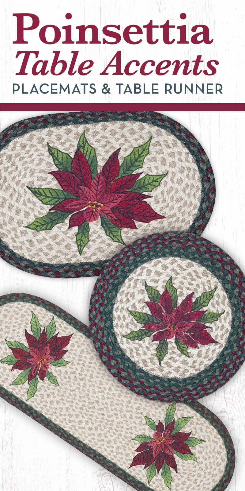 poinsettia oval table runner settings accent placemat placemats round and with design red green trim christmasdecor christmas countryliving countryhome cast aluminum side wrought