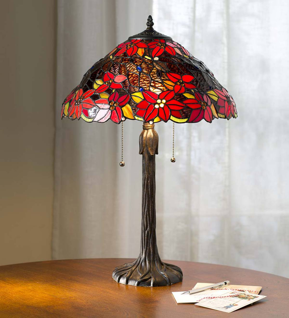 poinsettia tiffany table lamp plowhearth miniature accent lamps steel coffee outdoor grill west elm mirrored side bombay company furniture conversation sets pottery barn black