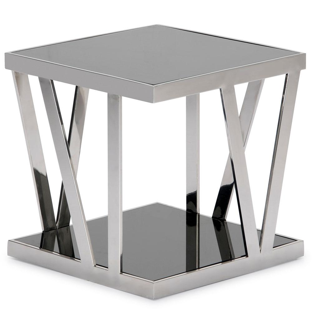 polished stainless steel square end table tables diamond sofa accent large floor lamp one drawer side black marble top resin patio with umbrella hole white drop leaf kitchen
