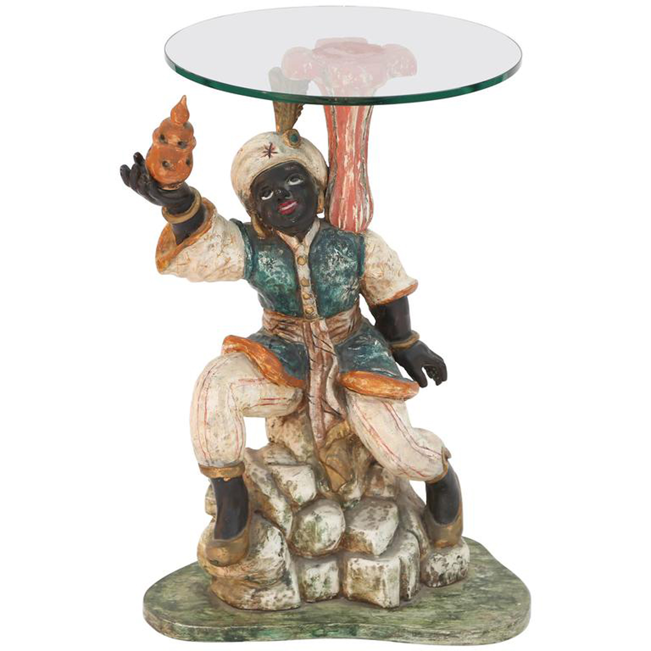 polychromed carved wood figural blackamoor accent table antique frame side white and brass coffee long black console door bars for laminate flooring small with shelves navy blue