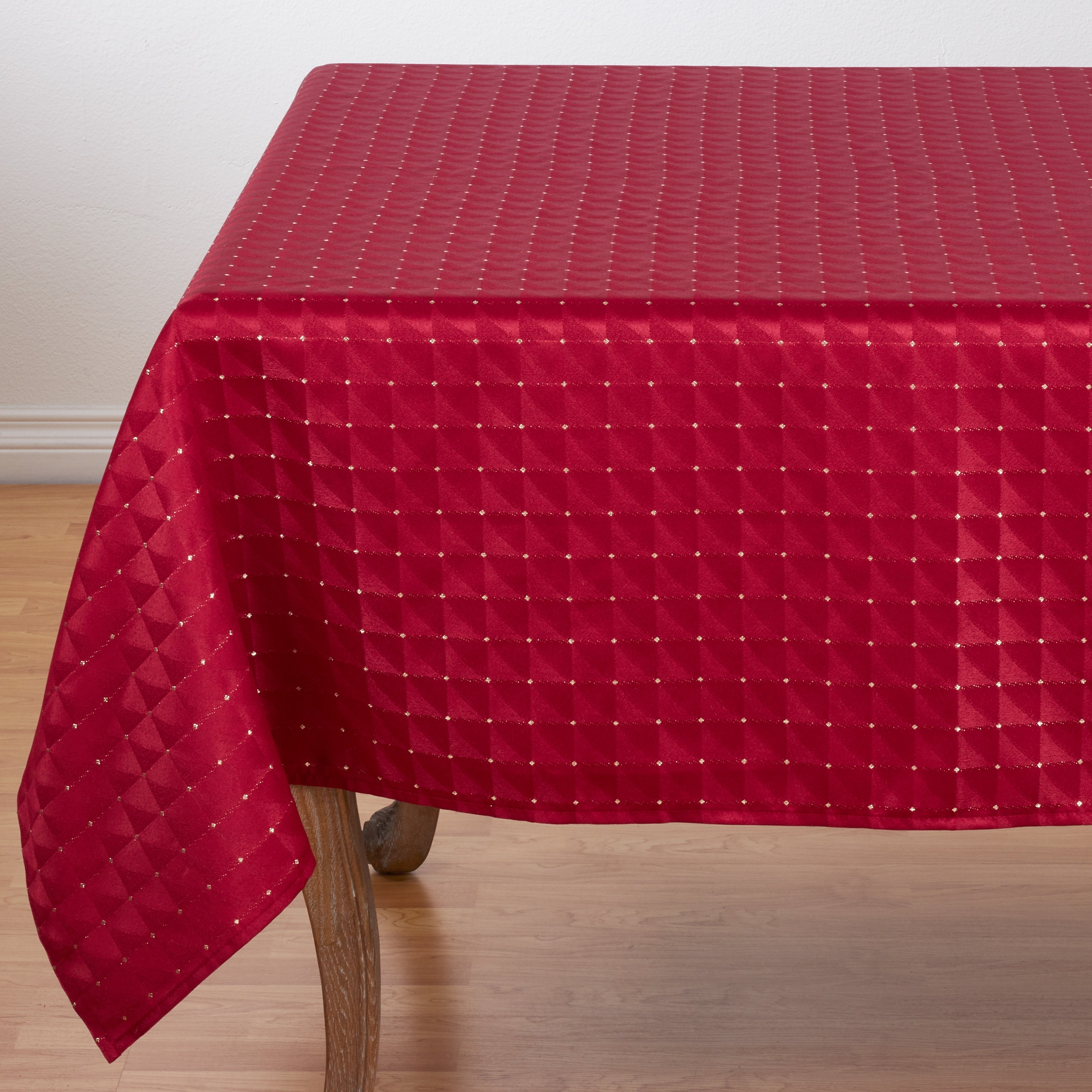 polyester christmas table cloth with checkered pattern round accent tablecloth free shipping orders over holiday runner carpet tile trim strips small outdoor teak side mosaic