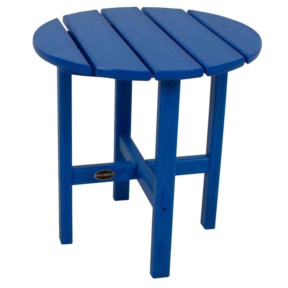 polywood pacific blue round patio side table the outdoor tables ultra modern lamps west elm peggy mosaic beverage cooler antique wood pier promo code uma furniture small end gray