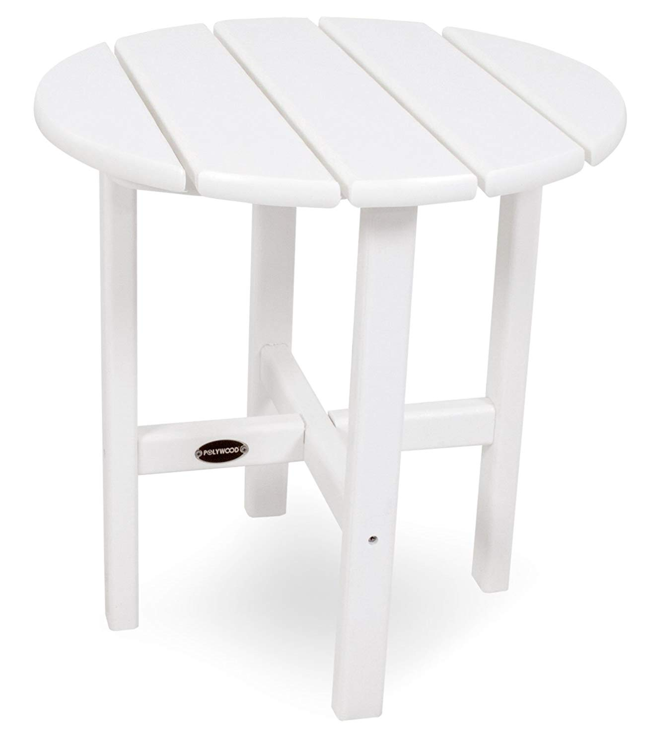 polywood round side table white patio accent tables garden outdoor funky lamps bathroom wall clock corner for bedroom dining room runners black and cherry end target lamp wicker