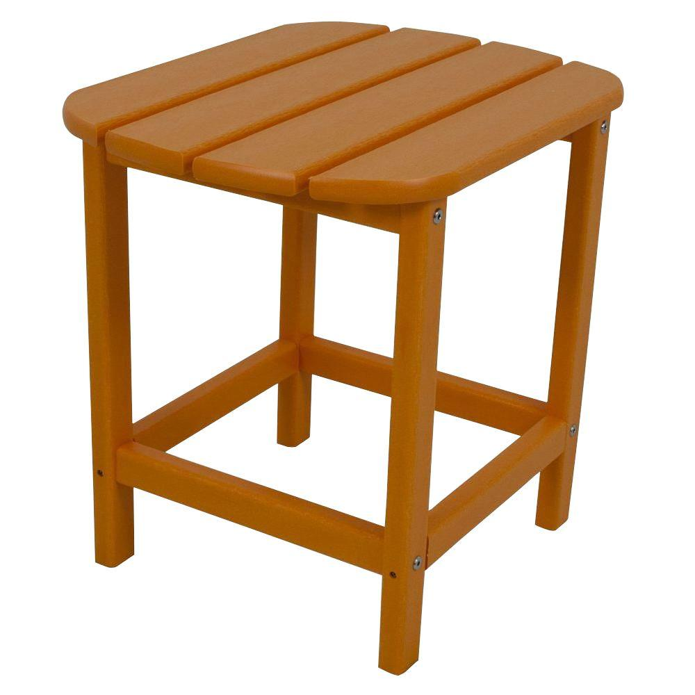 polywood south beach tangerine patio side table the outdoor tables orange short metal lounge chairs bunnings for small spaces ultra furniture console electric wall clock round