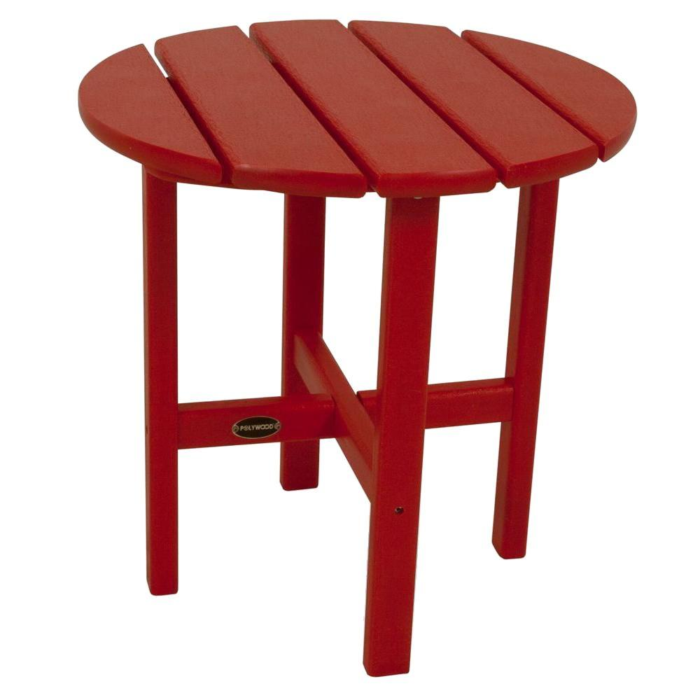 polywood sunset red round patio side table the home outdoor tables accent plastic purple tiffany style lamps target ott small cordless bistro and chairs resin under nate berkus