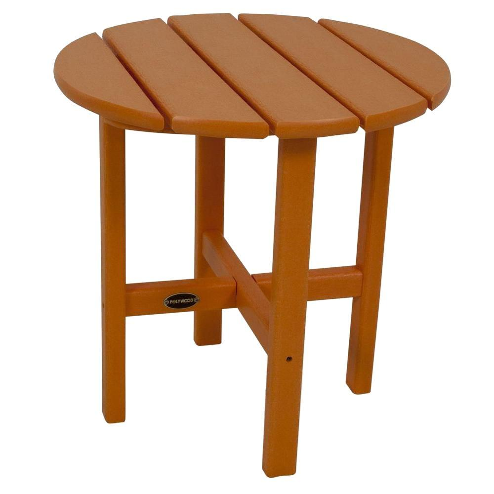 polywood tangerine round patio side table the home outdoor tables orange goods kitchen ikea wood accent desk lamps sun umbrellas for decks corner furniture pieces pier imports
