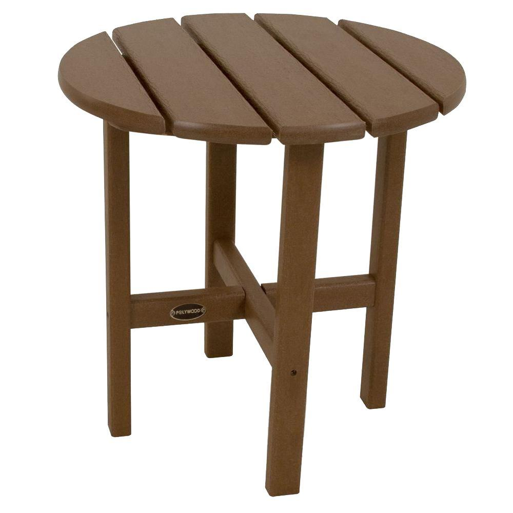 polywood teak round patio side table the outdoor tables accent sheesham wood wall for living room wooden storage trunk inside barn doors concrete furniture dale tiffany desk lamp