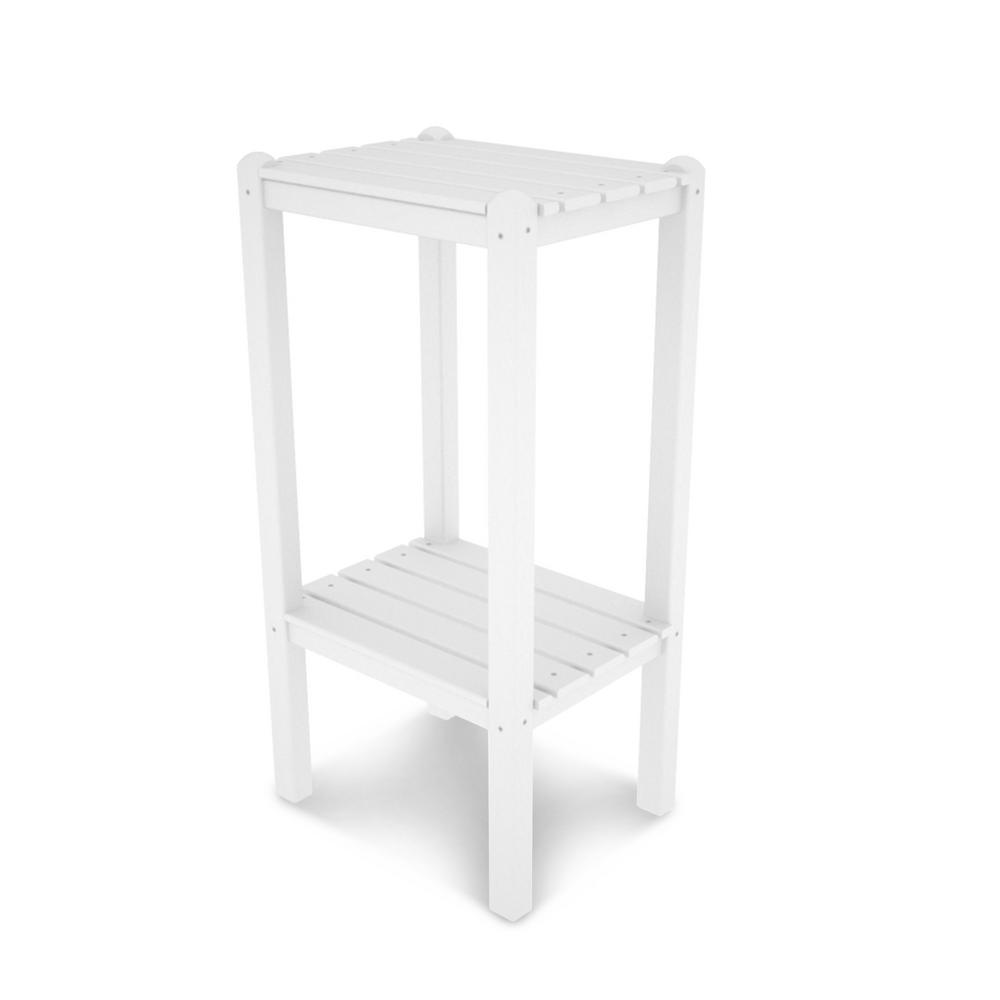 polywood two shelf white outdoor patio side table bstwh the tables accent farmhouse dining legs black trestle small half moon entry tablecloth for inch decorative bedside monarch